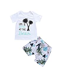 Lavany Baby Boys Girls Outfits 2pc Short Sleeve Beach Print Tops+Shorts Clothes Set