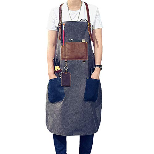 Canvas Tool Apron with Leather Pockets - Heavy Duty Work Shop Apron Water Resistant Cross-Back Straps Adjustable for Men Women Size S to XXL Gift for Craftsmen Gardener Painter (Grey) (Gardeners Shop The)