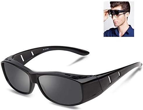 390388ed4e89 Over glasses sunglasses Polarized for men women Sunglasses Wear Over  fit  over Prescription Glasses UV400 Outdoor sports Driving sunglasses (Bright  black