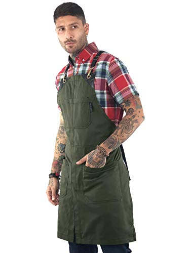 - Under NY Sky Cross-Back Moss Green Apron - Durable Twill with Leather Reinforcement and Split-Leg - Adjustable for Men and Women - Pro Chef, Tattoo, Baker, Barista, Bartender, Stylist, Server Aprons