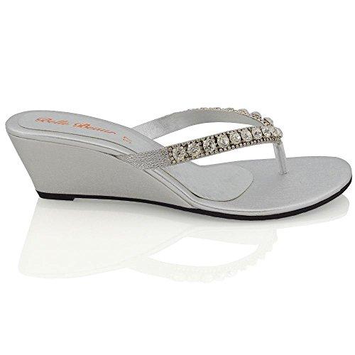ESSEX GLAM Damen Silber Keilabsatz Zehentrenne Thong Sandalen mit gehäuften Schmucksteinen EU 41 0CtyUMvMVo