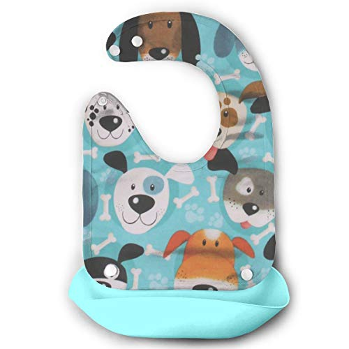 Price comparison product image W3Zap1 Puppy Dog Dogs Faces Allover Bones Paw Prints On Blue Waterproof Silicone Baby Bibs Easily Wipes Clean Comfortable Soft Baby Bibs Keep Stains Off