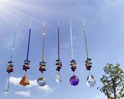 Joojus Sun Catcher Colorful Crystals Ball Glass Pendants Chandelier Suncatchers Prisms Hanging Ornament Octogon Chakra for Plants, Cars, Window Décor, Home, Office, Garden Decoration, 6 Pcs