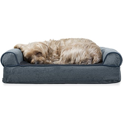 FurHaven Pet Dog Bed | Orthopedic Faux Fleece & Chenille Soft Woven Sofa-Style Couch Pet Bed for Dogs & Cats, Orion Blue, Small