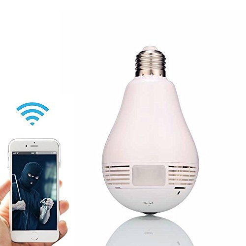Oley Wireless Wifi Ip Bulb Camera Security System 360 Degree Fisheye Lens Smart Cameras  Panoramic Surveillance Motion Detection  Phone App Remote For Home Office Room Store Baby Elder Pet White