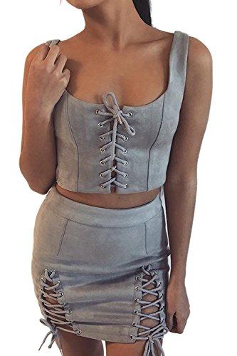 Eyelet Mini Skirt (Sevozimda Women Casual High Waist Eyelet Lace Up Bandage Basic Slim Pencil Mini Skirt Grey M)