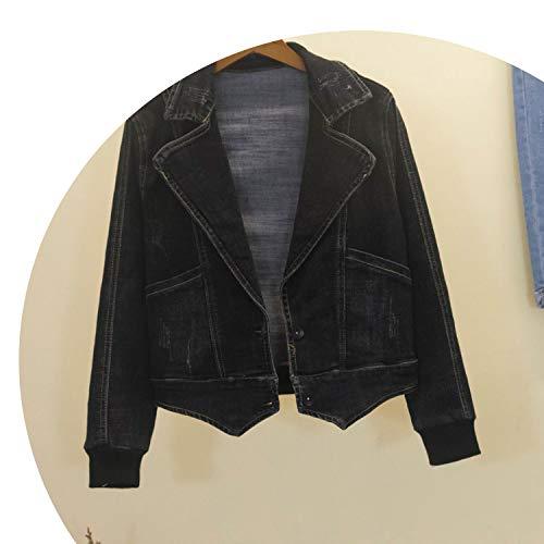 NanGate Denim Jackets Female Retro Loose Cowboy Coats Womens Long Sleeve Overcoat Women Basic Coat Ms Black Coat ()