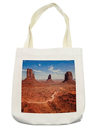 Lunarable Western Tote Bag, American Desert Arizona Canyon Monuments Valley National Park Wild West Theme, Cloth Linen Reusable Bag for Shopping Groceries Books Beach Travel & More, Cream
