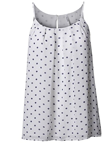 Polka Dot Chiffon Blouse - Plus4u Polka Dot Sleeveless Pleated Neck Woven Chiffon Blouse Top White Navy 1XL
