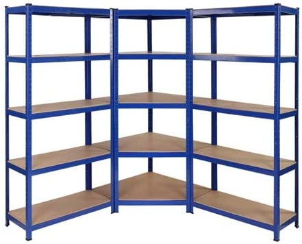 Kit de estanterías para esquinas de servicio pesado, 1 unidad de esquina 1500mm x 750mm x 300mm y 2 unidades de estantería 1500mm H x 750mm W x 300mm ...