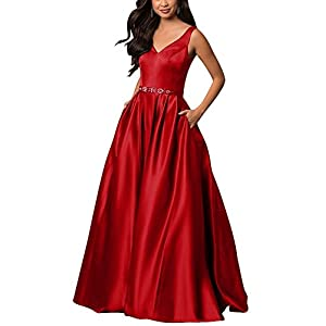 yinyyinhs V Neck Prom Dresses Long Stain Evening Ball Gowns Beaded Formal Dress
