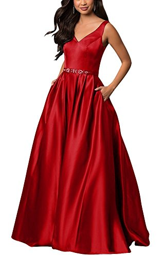 yinyyinhs Women's V Neck Prom Dresses A Line Long Beaded Evening Formal Gowns with Pockets Size 10 Red