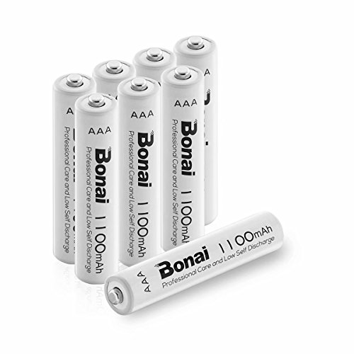 (BONAI 8 Pack 1100mAh AAA Rechargeable Batteries 1.2V Ni-MH High-Capacity Batteries - UL Certificate)