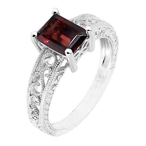 Filigree Sterling Silver Emerald Cut Natural Gemstone Statement Ring (garnet, 8)
