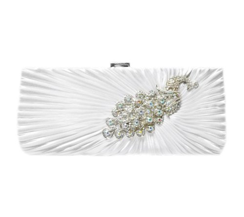 Peacock 10 White TdZ Strap Clutch Party with inch Rhinestone 6WxU8qZUnd