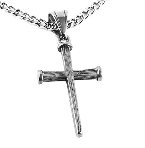 HZMAN Antique Nail Cross Stainless Steel Pendants Christian Necklace 24