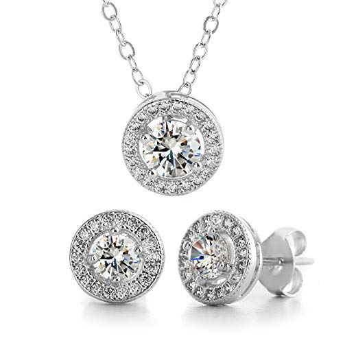 MIA SARINE Rhodium Plated Sterling Silver Round Cubic Zirconia Halo Earrings and Pendant Set (White)