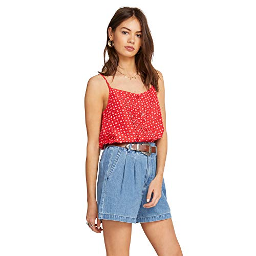 (Volcom Women's Deep Tracks Cropped Cami Top, Red, Small)