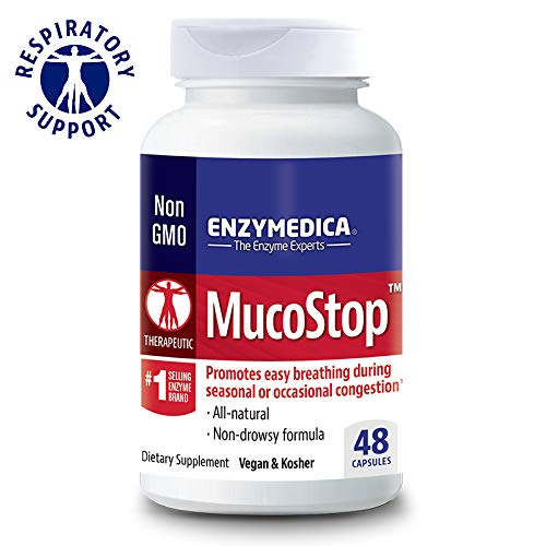 Enzymedica, MucoStop, Enzyme Supplement to Support Easy Breathing, Sinus and Mucus Relief, Vegan, 48 Capsules (24 Servings) (FFP)