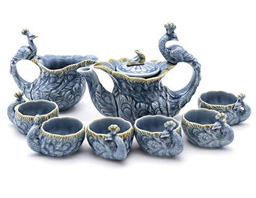 NEWQZ Sky Blue Glaze Peacock Shaped Tea Set, Including Tea Pot 1, Tea Pitcher 1, Tea Cup 6, Chinese Kung Fu/Gong Fu Tea Set