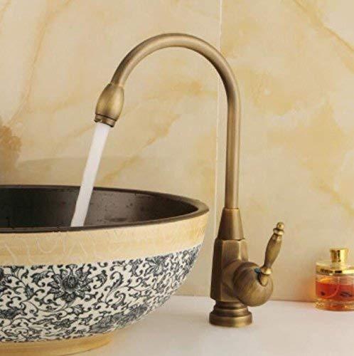 B Oudan All Copper Antique Faucet Basin, European Style Ancient Kitchen Faucet, Kitchen Pots, Faucet, 360 Degree redating Ceramic Disc Spool Drawing,B (color   B, Size   -)