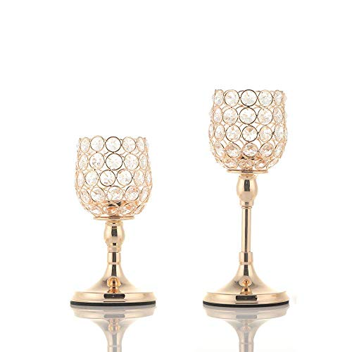VINCIGANT Gold Crystal Tea Light Candlesticks Holders/Wedding Table Centerpieces/House Decor Gifts for Anniversary Celebration(no Need to Install)