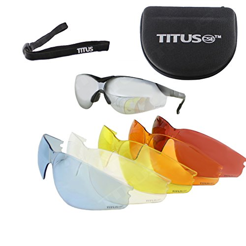 Titus Premium G Series Multi-Lens Safety Glasses Bundle - Professional Range Glasses, 9 Piece Kit (Lens Shooting Glasses)