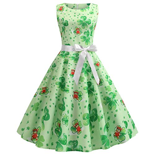TIFENNY St. Patrick's Day Women Fashion Vintage 1950s Retro Shamrock Sleeveless Prom Swing Dress Clover Print Dresses