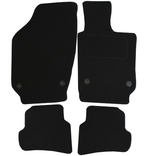 4 Pieces Black JVL Fully Tailored Rubber Car Mat Set with 4 Clips