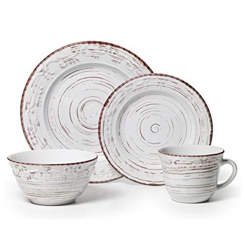 Pfaltzgraff 5217179 Trellis White 16-Piece Dinnerware Set, Service for 4 (Renewed) (Brown And Dinnerware White)