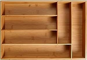 KD Organizers Organizador de cubiertos con 6 compartimentos - Bandeja para cubiertos, resistente, de madera de bambú - Organizador de utensilios de ...