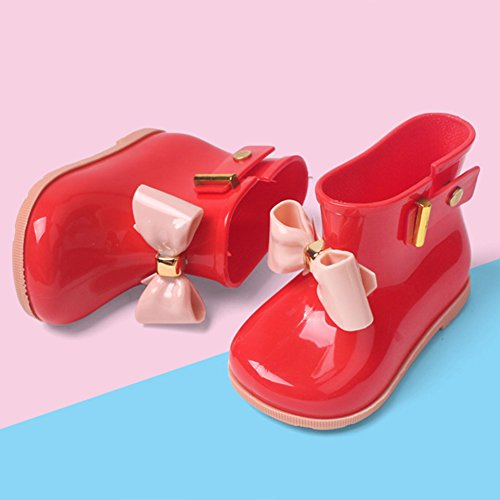 Mädchen Kurz Gummistiefel Leicht Baby Regenstiefel Wasserdicht Kinder Stiefel Kuschelige Regen Boots mit Schleife Rot