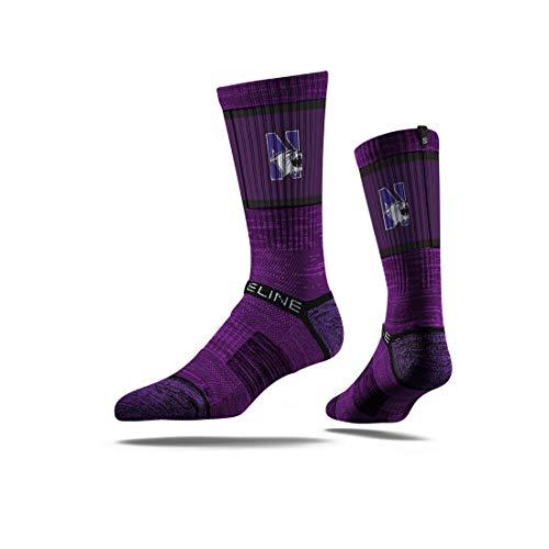 University Football Wildcats Northwestern - Strideline NCAA Northwestern Wildcats Premium Athletic Crew Socks, One Size, Purple