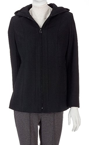 Anne Klein Womens Hooded Full Zip Wool Blend Coat (Small,...