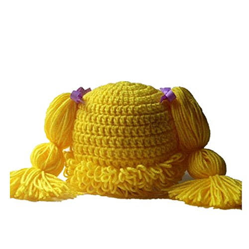 BIBITIME Knitted Pigtail Wig Beanie Handmade Women Girl's Braid Hat Bowknot Cap (Yellow, One Size)]()