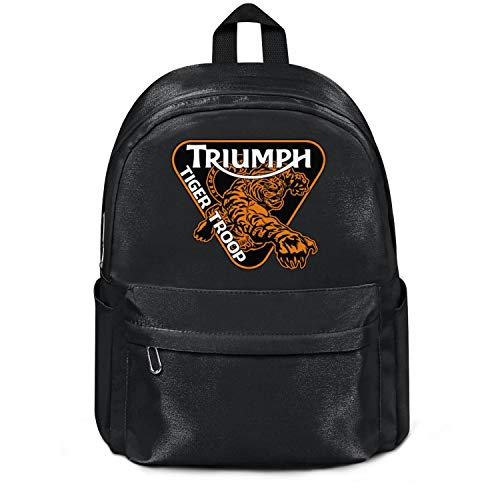 Womens Girl Boys Bag Triumph-Tiger-Troop-Motorcycles-logo- Classic Nylon Durable 13 Inch Laptop Compartment Backpack College Bookbag Black