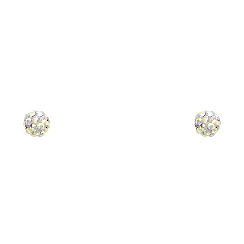 Wellingsale 14K Yellow Gold Polished 4mm Crystal Ball Stud Earrings With Screw Back