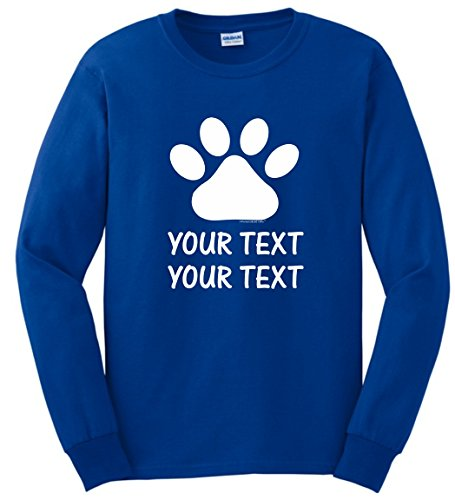 Personalized Dog T-Shirt Personalized Dog or Cat Paw with Your Custom Text Long Sleeve T-Shirt Medium Royal (Personalized Dog T-shirts)