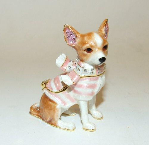 - Chihuahua Dog Enamel Hinged Bejeweled Trinket Box Swarovski Crystal