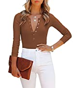 Women's Sexy V Neck Long Sleeve Button Down Ribbed Knit Leotards Bodysuits Tops