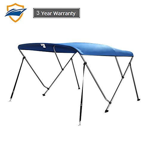 Seamander 3-4 Bow Bimini Boat Top Cover,Boat Accessories,Boat Canopy with Mounting Hardware, Rear Support Pole with Storage Boot - Canvas Tops Bimini