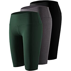 Cadmus Women's Tummy Control Workout Athletic Yoga Shorts with Pocket,3 Pack,04,Black,Grey,Dark Green,X-Small