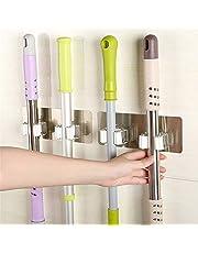 QZ Broom Mop Holder, Self Adhesive No Drilling Anti-Slip Broom Gripper Home Wall Mounted Storage Rack (Color : Black-dual rack)
