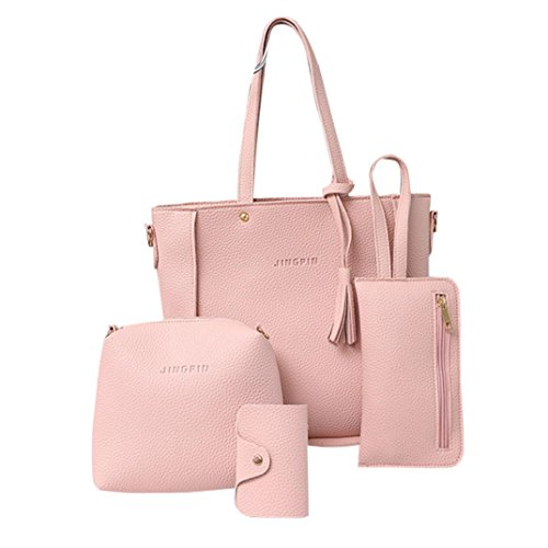 Women Handbag, Hunzed Fashion Tassels Leather Shoulder Bag Tote Ladies Purse +Crossbody Bag+Clutch Wallet+Card Hold (Pink) by Hunzed