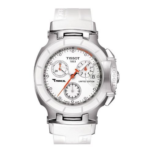 Tissot Women's 'T-Race' Swiss Quartz Stainless Steel and Rubber Casual Watch, Color:White (Model: T0482172701600)