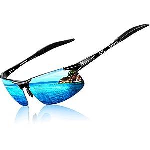 ATTCL Men's HOT Fashion Driving Polarized Sunglasses for Men Al-Mg metal Frame 8177BLACK-BLUE