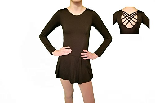 Homester Ice Figure Skating Dance Practice Dress Girls (Black, 8)