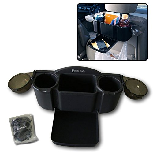 Zento Deals Car Seat Organizer with Fold-Out Tray and 2 Drink Holders (Back Cup Holder)