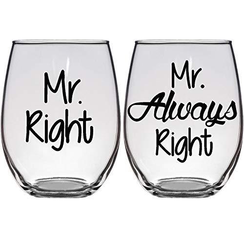 Gay Wedding Gift - Mr. Right, Mr. Always Right Wine Glass Set