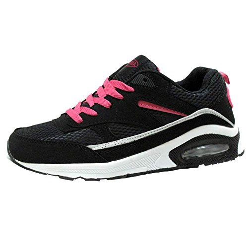 Ladies Running Trainers Air Tech Womens Shock Absorbing Fitness Gym Sports Shoes Size 3 4 5 6 7 8 Black / Fuchsia VXEkGUcI